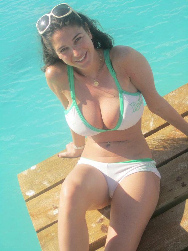 Hot Girl With Big Boobs on Dock