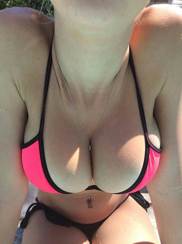 Hot Girl With Big Boobs Bikini Close Up