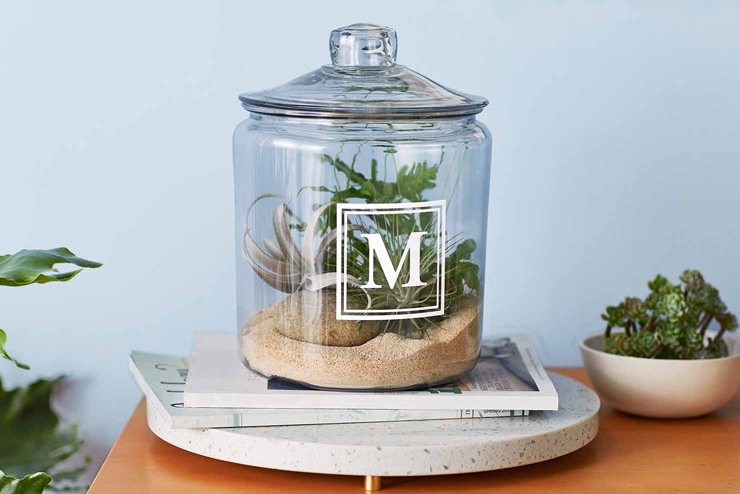 mothers day gift ideas monogrammed terrarium jar